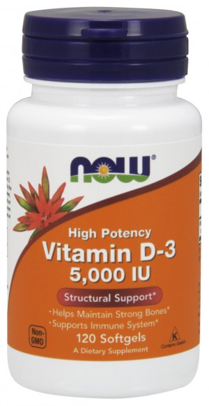 Vitamin D-3 5000 IU (bottle of 120 softgels)